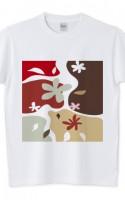 北欧カーブ レッド Tシャツ